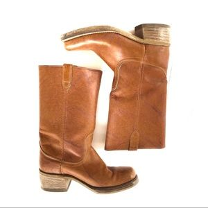 Vintage Acme Light Brown Rounded Square Toe Boots